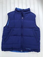 LL Bean Goose Down Quilted Puffer Vest Small 8 Blue Girls Boys Reversible