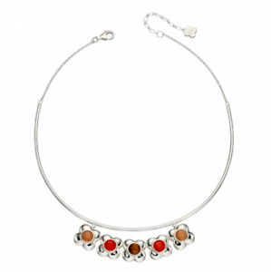 ORLA KIELY STERLING SILVER WITH QUARTZ & TIGER'S EYE STONES STATEMENT NECKLACE