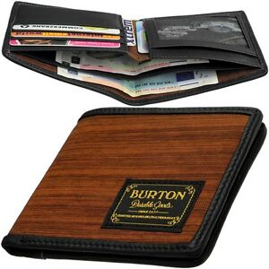 Burton Men's Wallet Without Coin Pocket, Wood Design, Case Wallet Purse