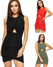 Patternless Sleeveless Dresses for Women with Ruched