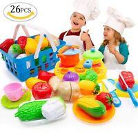 26pcs Fun Cutting Fruits Vegetables Pretend Food Playset Toys Kitchen Play Toys
