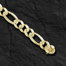 """10k Solid GOLD handmade Figaro Curb link mens bracelet 8"""" 38 grams 12MM"""
