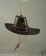 metal Cowboy hat Sheriff Christmas Ornament western theme