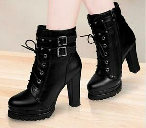 Lady Women Fashion Buckle Side zipper ankle boots chunky high heel Shoes Pumps D