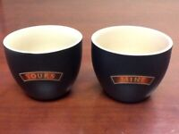 Baileys Irish Cream Yours and Mine Cups set of 2 Mugs Bowls
