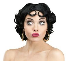 Betty Boop Wig Womens Adult Curly Black Flapper Costume Cartoon 20s Sexy Cute