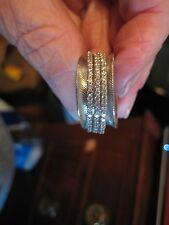 LOVELY JUDITH RIPKA  STERLING SILVER DIAMONIQUE SPINNER RING  SIZE 9.5