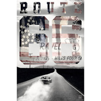"""ROUTE 66 POSTER - CONVERTIBLE BURNING RUBBER - 91 x 61 cm 36 x 24"""""""