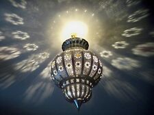 Lustre plafonnier marocain fer forgé lampe h7 applique lanterne oriental 50 cm