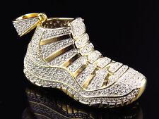 "Yellow Gold Finish Sterling Silver Lab Diamond Jordan Shoe Pendant 1.5"""