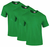 NEW MENS 3 PACK PLAIN BASIC COTTON GILDAN T-SHIRTS in IRISH GREEN Tees Tshirt