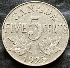 1925 Canada 5 Cent Nickel - Key Date Coin - VG/F Condition