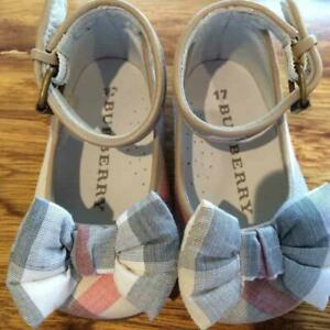 BURBERRY Baby Shoes Bow Detail Check Ballerinas Size 17 10.5cm W/Box Unused