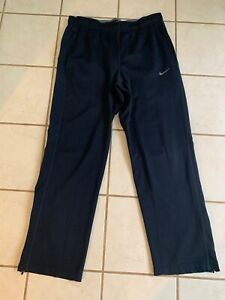 NIKE Dri-Fit Men's Navy Blue Mesh Poly Fitness Pants w/ Zippered Legs Sz L