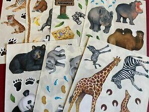 "Creative Memories - Zoo Animals - Lot of 2 Block Stickers - 4"" x 5"" - YOU CHOOSE"