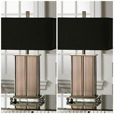TWO AGED COPPER OVER METAL TABLE LAMP POLISHED NICKEL DETAIL LINEN SHADE LIGHT