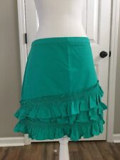 New J Crew Ruffle Skirt in Cotton-poplin Tropical Marine Sz 6 H6130