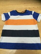 George Boys Size 5-6 Years Blue White & Orange Striped T-Shirt