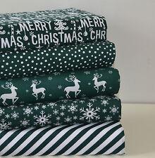 CHRISTMAS FABRIC 5 PIECE FQ FAT QUARTER BUNDLE POLY COTTON GREEN SPOT DEER SNOW