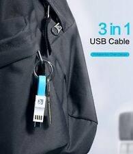 (2pack) 3in1 USB Keyring charging Cable, Works With iPhone, Type C, Micro USB