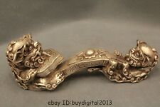 """8"""" Chinese Fengshui Palace Silver Two Lion Collect Auspicious Ru Yi Statue"""