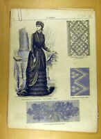 Antique Old Print Ref.190 1884 Ladies Fashion Dress Material Corsage French