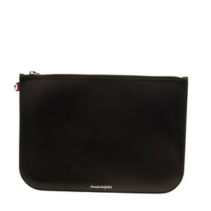 RRP €400 ALEXANDER McQUEEN Leather Clutch Bag Large Zip Closure Made in Italy