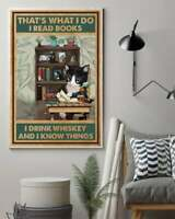 Tuxedo Cat Read Books And Drink Whiskey Vertical Poster No frame Home Wall Decor