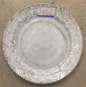 Nicole Miller Grey Rustic Medallion Print MELAMINE Side Plates Set 4
