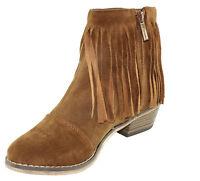 Breckelle's Dorado-18 Faux Suede Block Stacked Heel Fringe Trim Ankle Booties