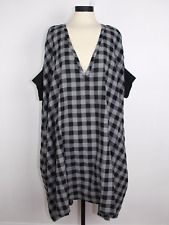 Hannes Roether Cotton Plaid Oversized Tunic Dress, Lagenlook, Boho, Size S