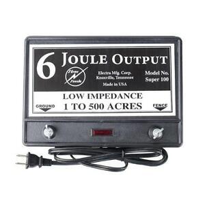 Fence Charger Super 100  6-Joule / Free Lightning Diverter / Lightning Fuse 5J>