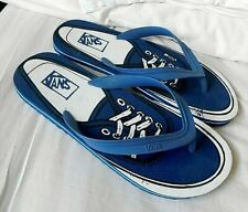 VANS Blue & White Designer Slip-On Beach Poolside Flip Flops Size UK 10 to 12