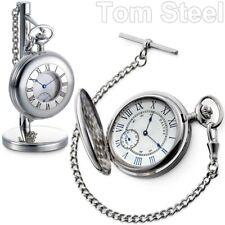 DALVEY Handaufzug Taschenuhr Kette Ständer Edelstahl Vintage Uhr Mechanisch NEU