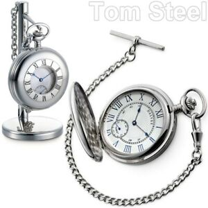 DALVEY Hand Wound Pocket Watch Chain Stand Stainless Vintage Mechanical New
