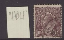 """Australia 1½d KGV (s/crown w/m) with flaw on """"H"""" of HALF"""