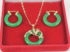 Schmuck Set- Grün Jade Ohrringe & Anhänger