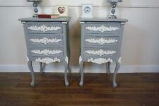 Two Handmade Rococo Bedside Tables in Mercury Grey