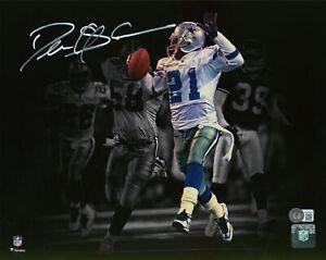 Cowboys Deion Sanders Authentic Signed 11x14 Horizontal Blackout Photo BAS Wit