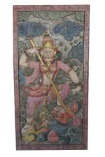 Vintage INDIAN Carving Goddess WOOD Sculpture Maa Durga Hand Carved Wall Decor