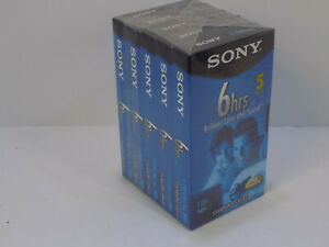 NOS NEW Vintage Sony 5 pack Blank VHS Cassettes T-120VL/WA SEALED Free Shipping!