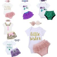 Newborn Infant Baby Girls Birthday Romper +Tutu Dress Shorts Outfit Clothes 3PCS