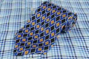 Jos A Bank Men's Tie Black Blue & Gold Geometric Silk Necktie 56 x 3.75 in.