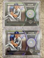 2020 TRIBUTE 2x WALKER BUEHLER STAMP OF APPROVAL LOT GREEN PURPLE GAME USED /50