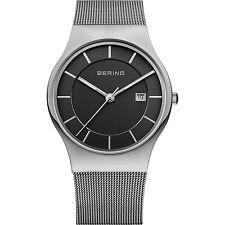 BERING 11938-002 Armbanduhr Herren Saphirglas silber schwarz Datum Edelstahlband