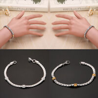 Cool Women Men Link Gold Silver Tone Stainless Steel Cuff Chain Bracelet Bangle