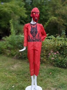 CREEPY ANTIQUE 1930'S DEVIL HALLOWEEN COSTUME W MASK