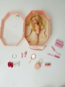 Vintage rare Doll Hong Kong w Pink case & accessories No. 7006 long blonde hair