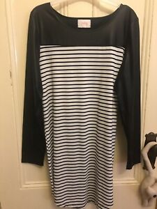 Polly black and white long sleeve dress size 12