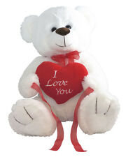 "*NEW* BIG WHITE LOVE YOU TEDDY BEAR SOFT PLUSH VALENTINES DAY GIFT - 15"" Sitting"